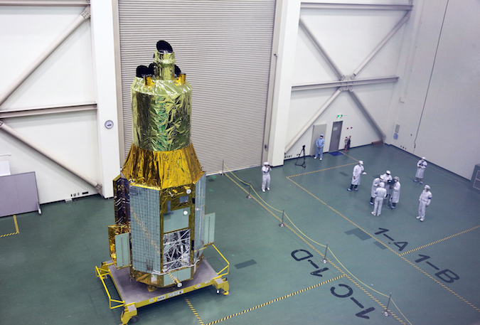 The Hitomi satellite is seen Nov. 27 at a press day held before its launch. Credit: JAXA