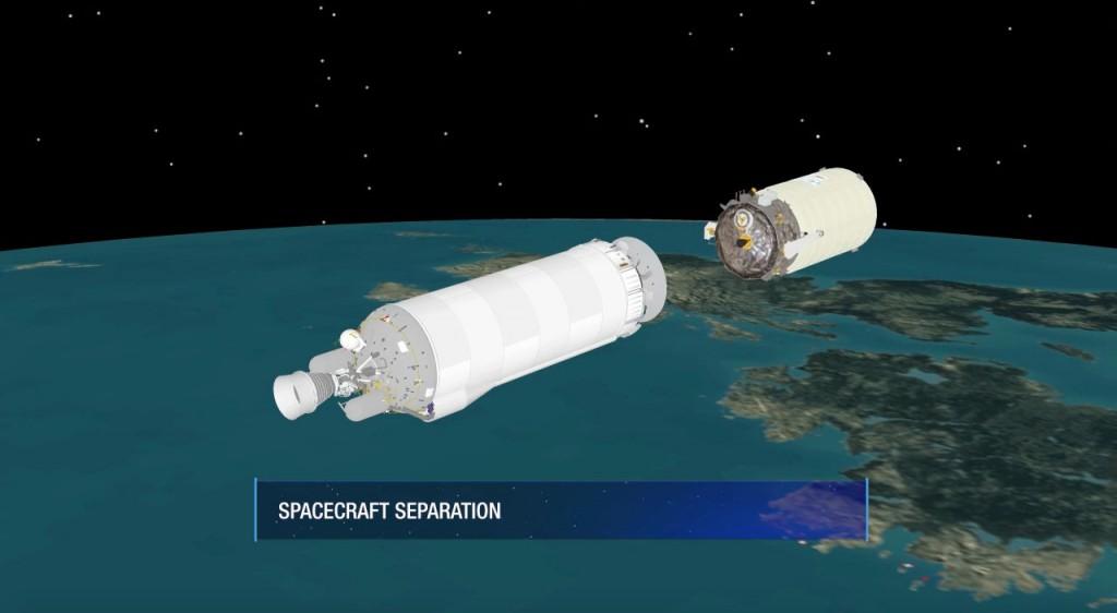 Deployment of Cygnus into the correct orbit. Credit: ULA