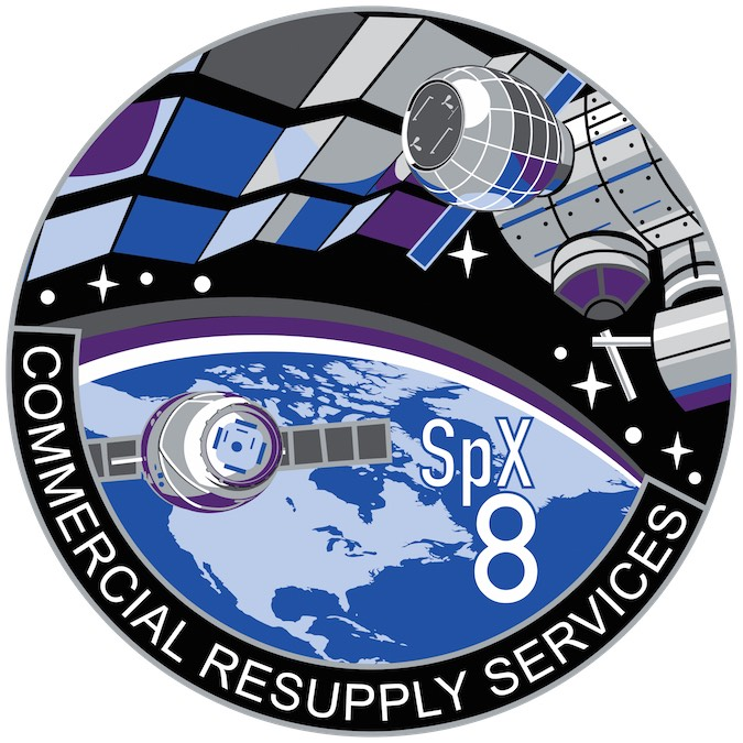 NASA's patch for the upcoming Dragon resupply mission, known as SpaceX-8. Credit: NASA
