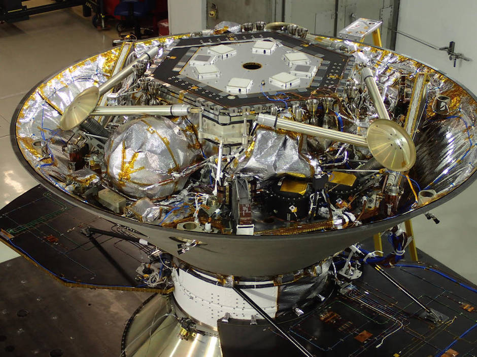 The InSight lander in its cruise stage configuration prior to undergoing acoustic testing at Lockheed Martin. Credit: NASA/JPL-Caltech/Lockheed Martin