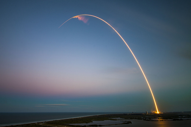 The Falcon 9 rocket streaked into space just after sunset Friday. Credit: SpaceX