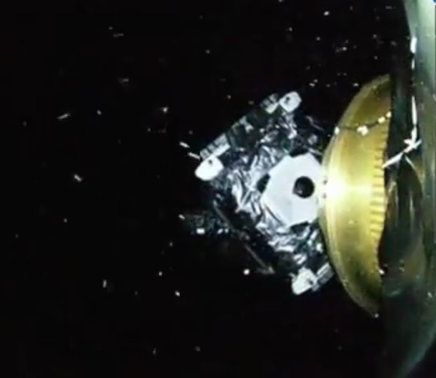 """The SES 9 satellite deploys from the Falcon 9 rocket's upper stage in this view from an on-board """"rocketcam."""" Credit: SpaceX"""