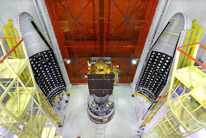 This photo shows the IRNSS 1G satellite before encapsulation inside the Polar Satellite Launch Vehicle's payload fairing. Credit: ISRO