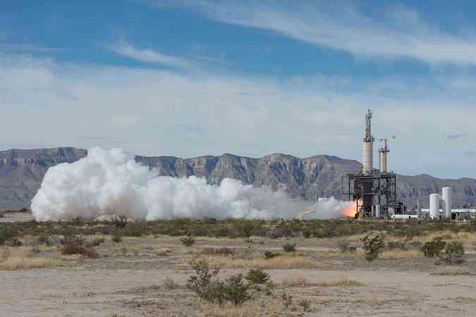 A BE-3 engine is test-fired at Blue Origin's West Texas rocket development facility in 2013. Credit: NASA/Blue Origin