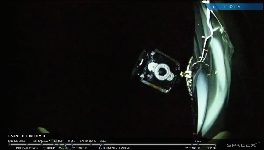 The Thaicom 8 satellite flies away from the Falcon 9 rocket as it soars in orbital darkness over Africa. Credit: SpaceX