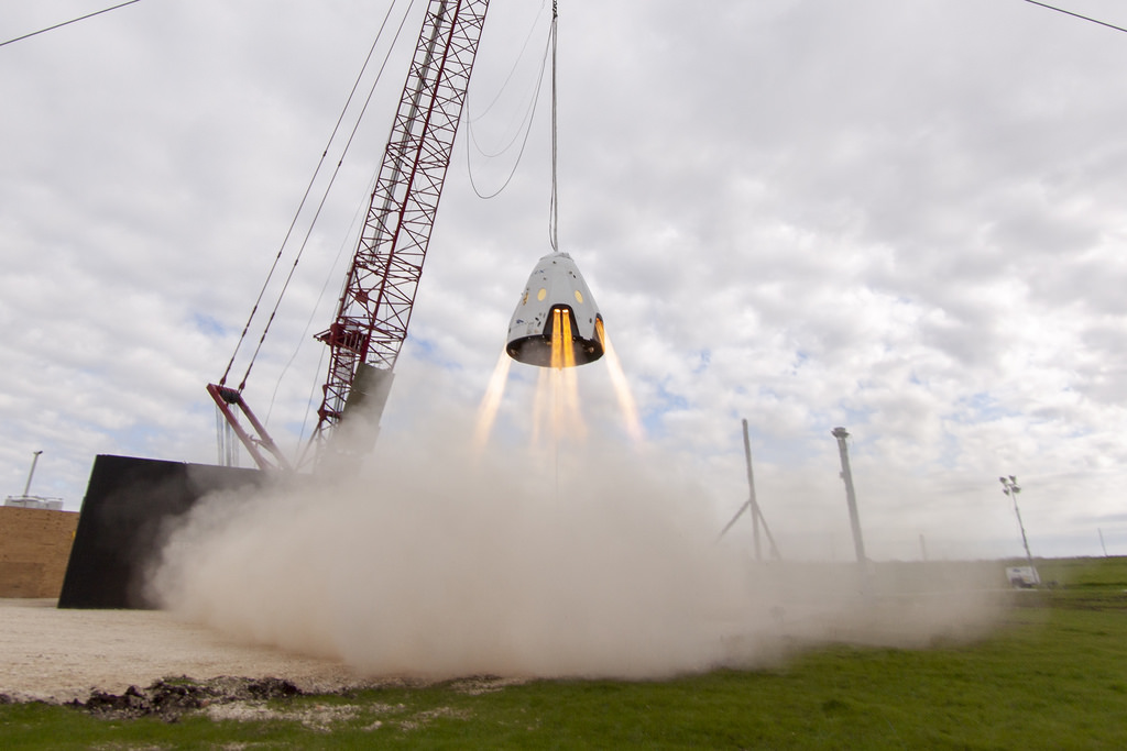 A prototype Crew Dragon spacecraft undergoes a hover test at SpaceX's test facility in McGregor, Texas. Credit: SpaceX