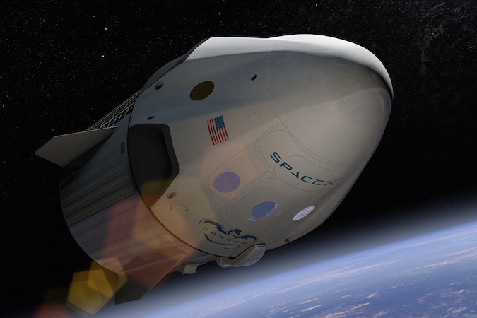 Artist's concept of the Crew Dragon spacecraft in orbit. Credit: SpaceX