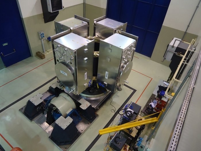 Four-satellite dispenser for Galileo's Ariane 5 seen during shaker testing at Airbus Defence and Space near Bordeaux. The dispenser has had four Galileo engineering models attached to it for test purposes. Credit: ESA