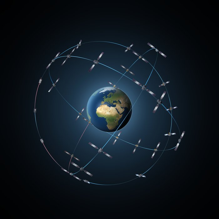 Artist's concept of the 30-satellite Galileo constellation planned to be complete by 2020. Credit: ESA-P. Carril