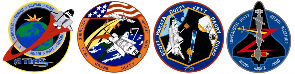Duffy's four mission patches.