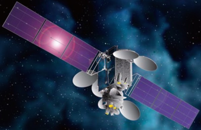 Artist's concept of the JCSAT 14 satellite in orbit. Credit: Space Systems/Loral