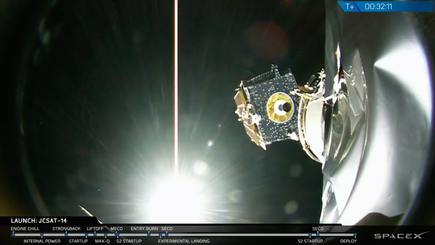 The JCSAT 14 communications satellite departs the Falcon 9 rocket as it flies over Africa about 32 minutes after liftoff. Credit: SpaceX