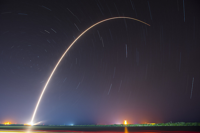 SpaceX's Falcon 9 rocket streaks due east from Cape Canaveral after lifting off at 1:21 a.m. EDT (0521 GMT). Credit: SpaceX