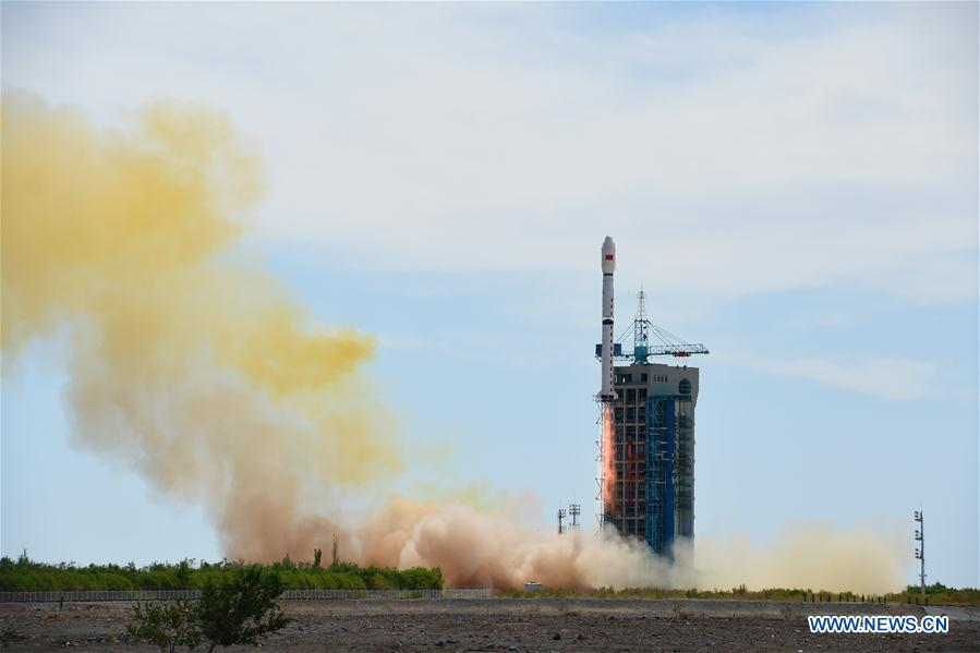 A Long March 4B rocket launched at 0321 GMT Wednesday (11:21 p.m. EDT Tuesday) with China's second Shijian 16 satellite. Credit: Xinhua