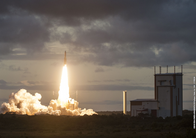 An Ariane 5 rocket took off at 2138 GMT (5:38 p.m. EDT; 6:38 p.m. French Guiana time) Saturday from the Guiana Space Center. Credit: ESA/CNES/Arianespace – Photo Optique Video du CSG – P. Piron
