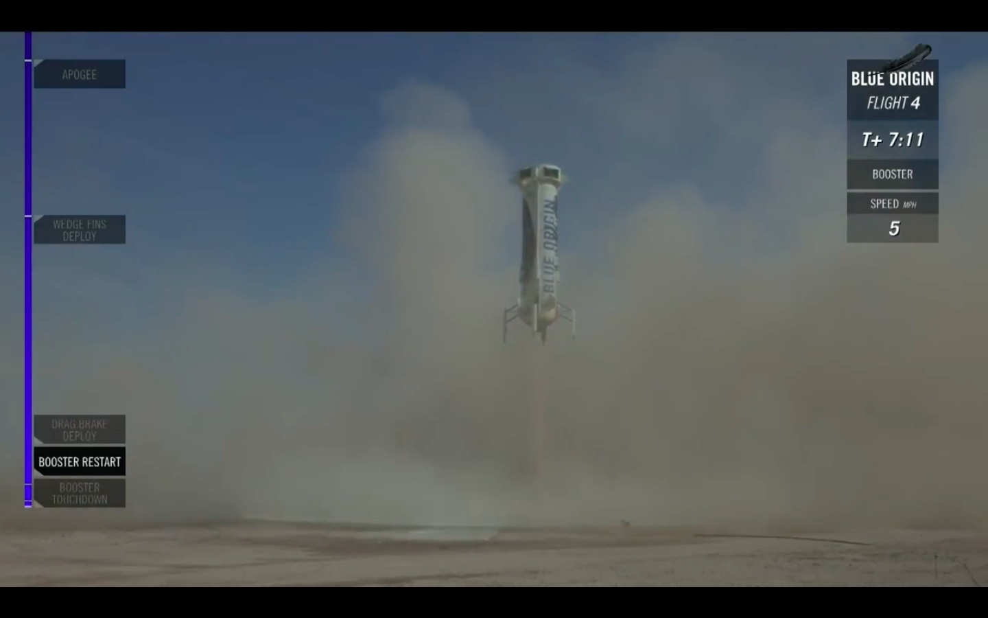 The New Shepard booster just before landing in West Texas on Sunday. Credit: Blue Origin