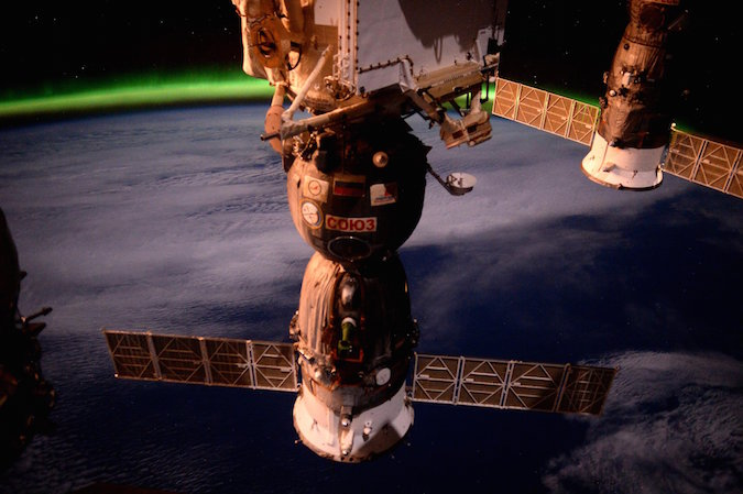 This view shows the Soyuz TMA-19M spacecraft docked to the space station's Rassvet module. Credit: Tim Peake/ESA/NASA