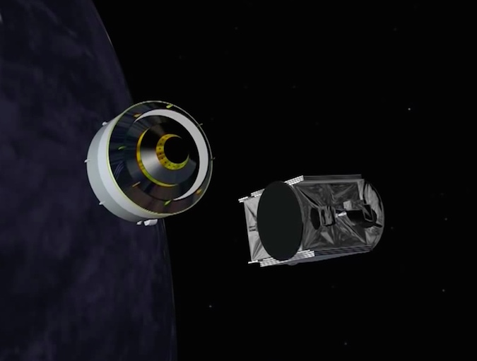The GSAT 18 satellite separates from the Ariane 5's upper stage to begin a 15-year mission for the Indian Space Research Organization.