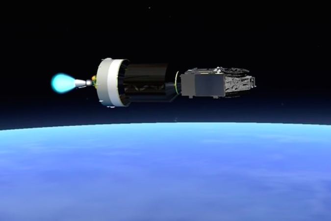 The Ariane 5's upper stage HM7B engine ignites for a 16-minute, 9-second burn to place the Sky Muster 2 and GSAT 18 satellites into geostationary transfer orbit. The HM7B engine burns liquid hydrogen and liquid oxygen, and generates more than 14,000 pounds of thrust.