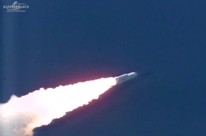 The Ariane 5 rocket surpasses the speed of sound, heading east over the Atlantic Ocean.