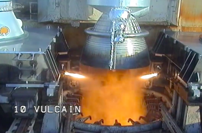 The Ariane 5's first stage Vulcain 2 main engine ignites as the countdown clock hits zero, throttling up to about 300,000 pounds of thrust and undergoing a computer health check before liftoff.