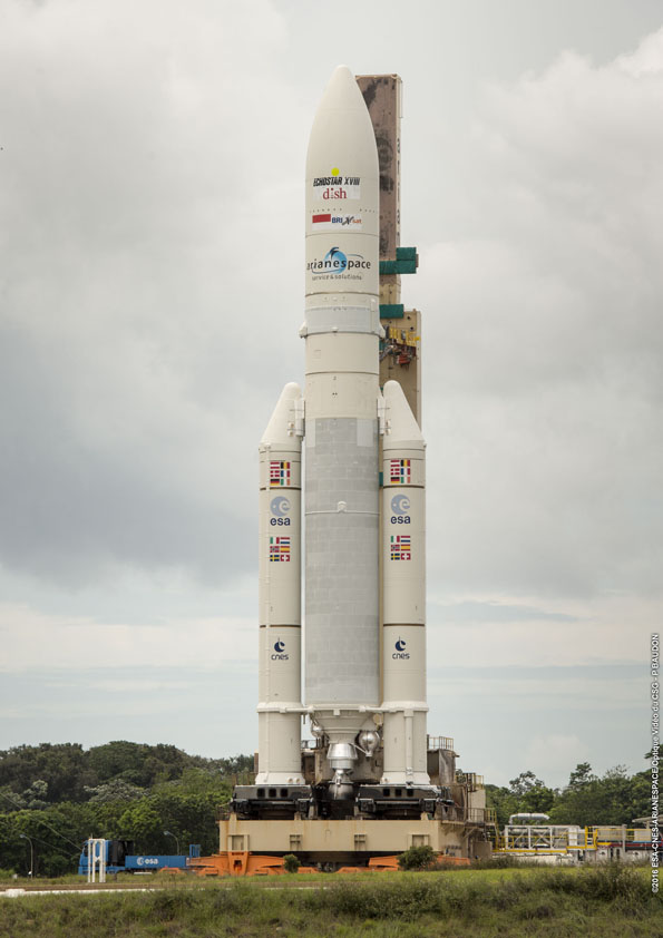 The two-stage Ariane 5 rocket, seen here Thursday, is powered by a core stage Vulcain 2 engine, an upper stage HM7B engine, and two solid rocket boosters. The boosters and Vulcain 2 engine produce 2.9 million pounds of thrust at liftoff. Credit: ESA/CNES/Arianespace – Photo Optique Video du CSG – P. Baudon