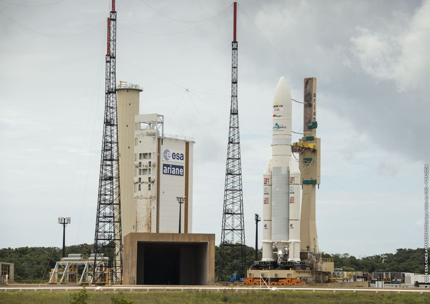 The Ariane 5 rocket arrives at the ELA-3 launch pad Thursday. Credit: ESA/CNES/Arianespace – Photo Optique Video du CSG – P. Baudon