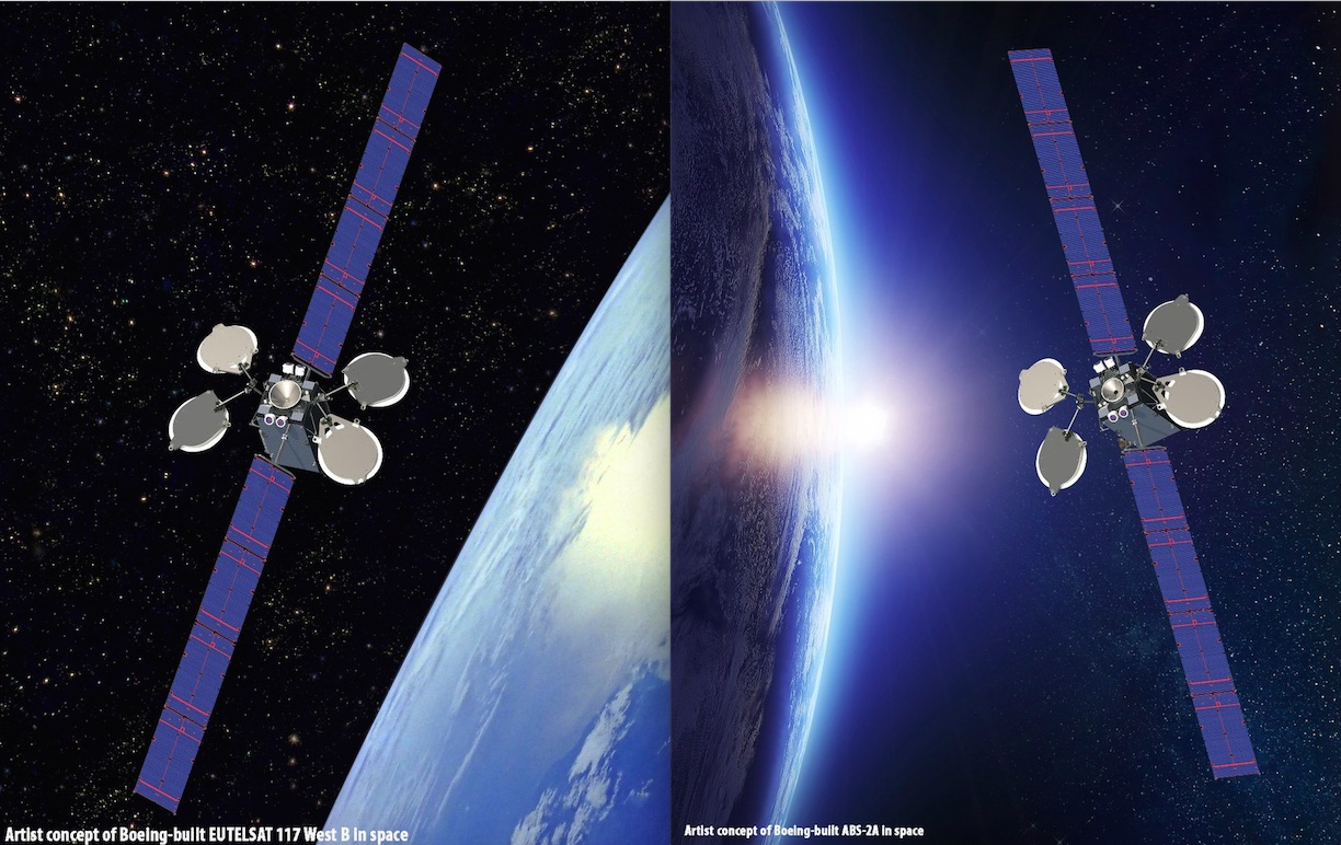 Artist's concept of the Eutelsat 117 West B and ABS 2A satellites in orbit. Credit: Boeing