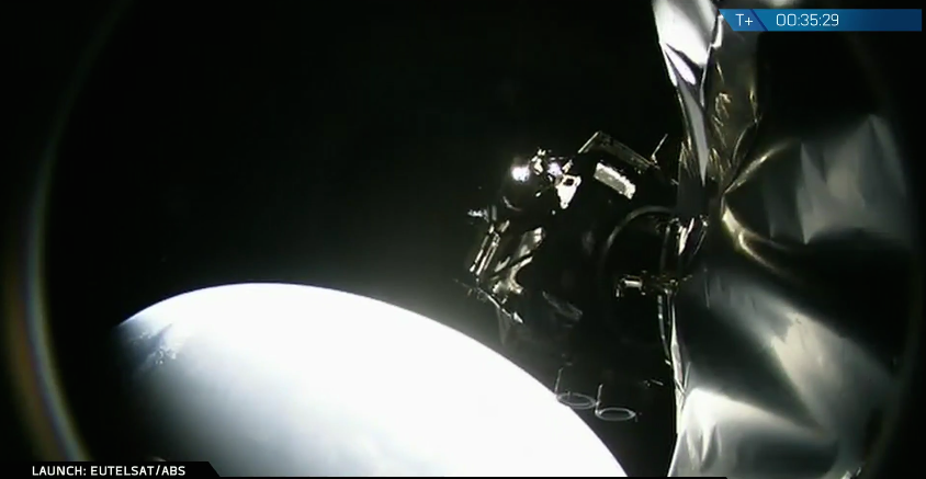 This view from an on-board camera shows the ABS 2A spacecraft separating from the Falcon 9 upper stage. Credit: SpaceX