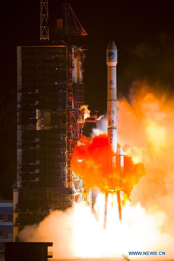 A Long March 3C rocket blasted off at 1530 GMT (11:30 a.m. EDT; 11:30 p.m. Beijing time) Sunday with a Beidou navigation satellite. Credit: Xinhua