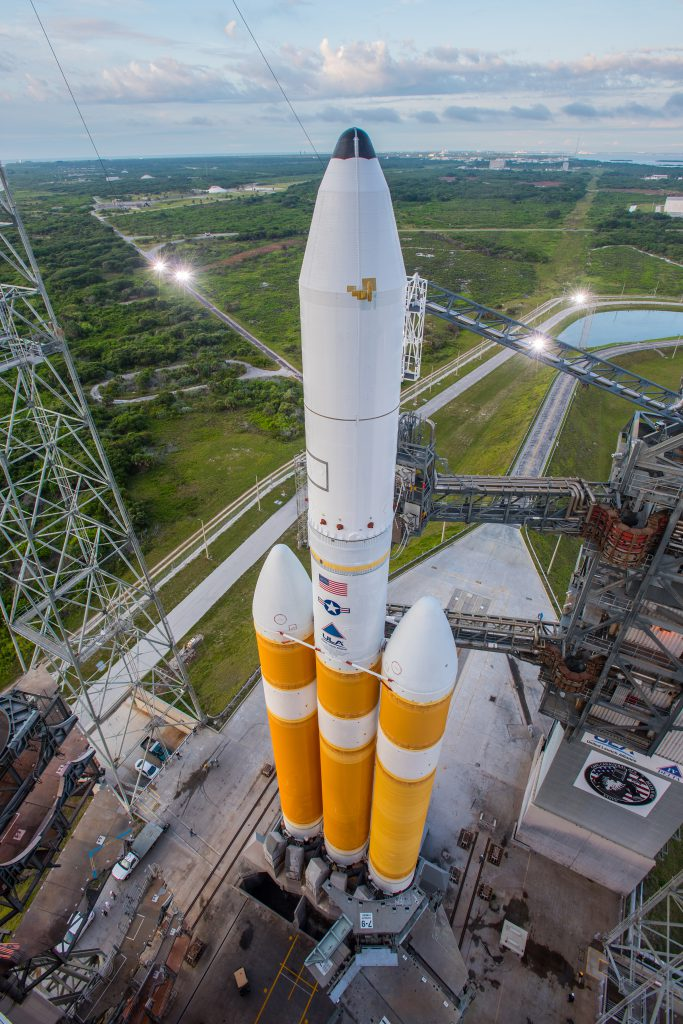 Delta 4-Heavy on the pad prior to NROL-37. Credit: ULA