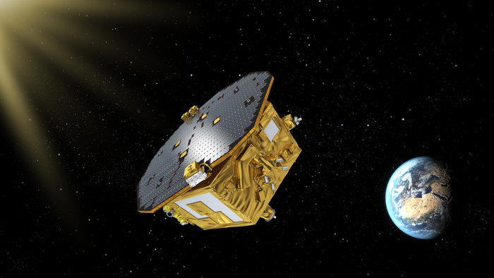 Artist's concept of the LISA Pathfinder spacecraft. Credit: ESA–C. Carreau