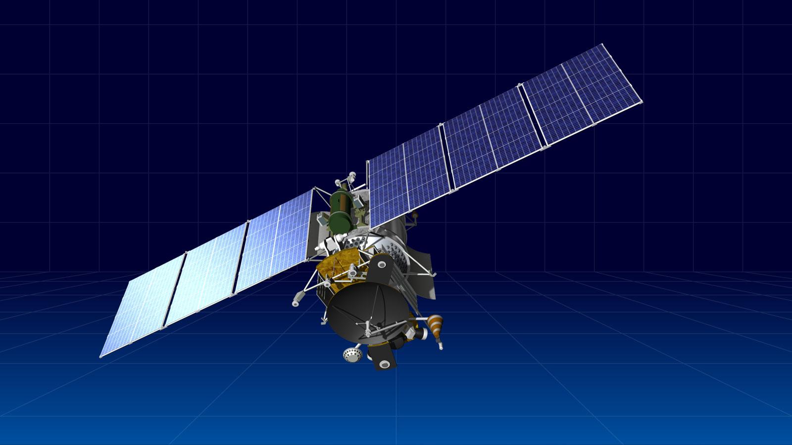 Artist's concept of a GEO-IK 2 satellite in orbit. Credit: ISS Reshetnev