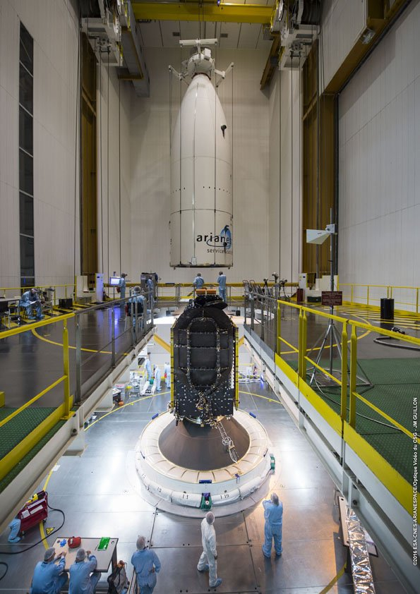 The Ariane 5's payload shroud, containing EchoStar 18 and the Sylda adapter structure, was installed over the BRIsat spacecraft Tuesday. Credit: ESA/CNES/Arianespace – Photo Optique Video du CSG – JM Guillon