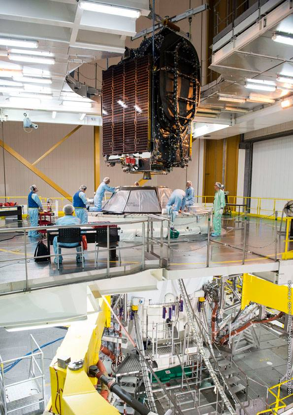The BRIsat satellite designed to support Indonesian banking services was attached to the second stage of the Ariane 5 rocket Monday. Credit: ESA/CNES/Arianespace – Photo Optique Video du CSG – P. Baudon