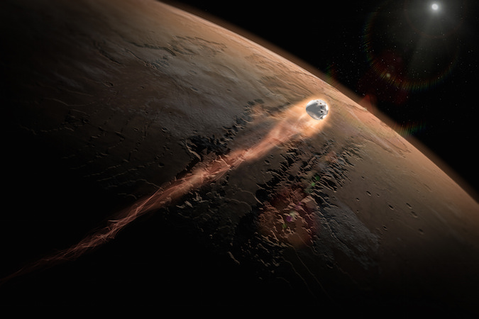 Artist's concept of SpaceX's Red Dragon spacecraft entering the Martian atmosphere. Credit: SpaceX