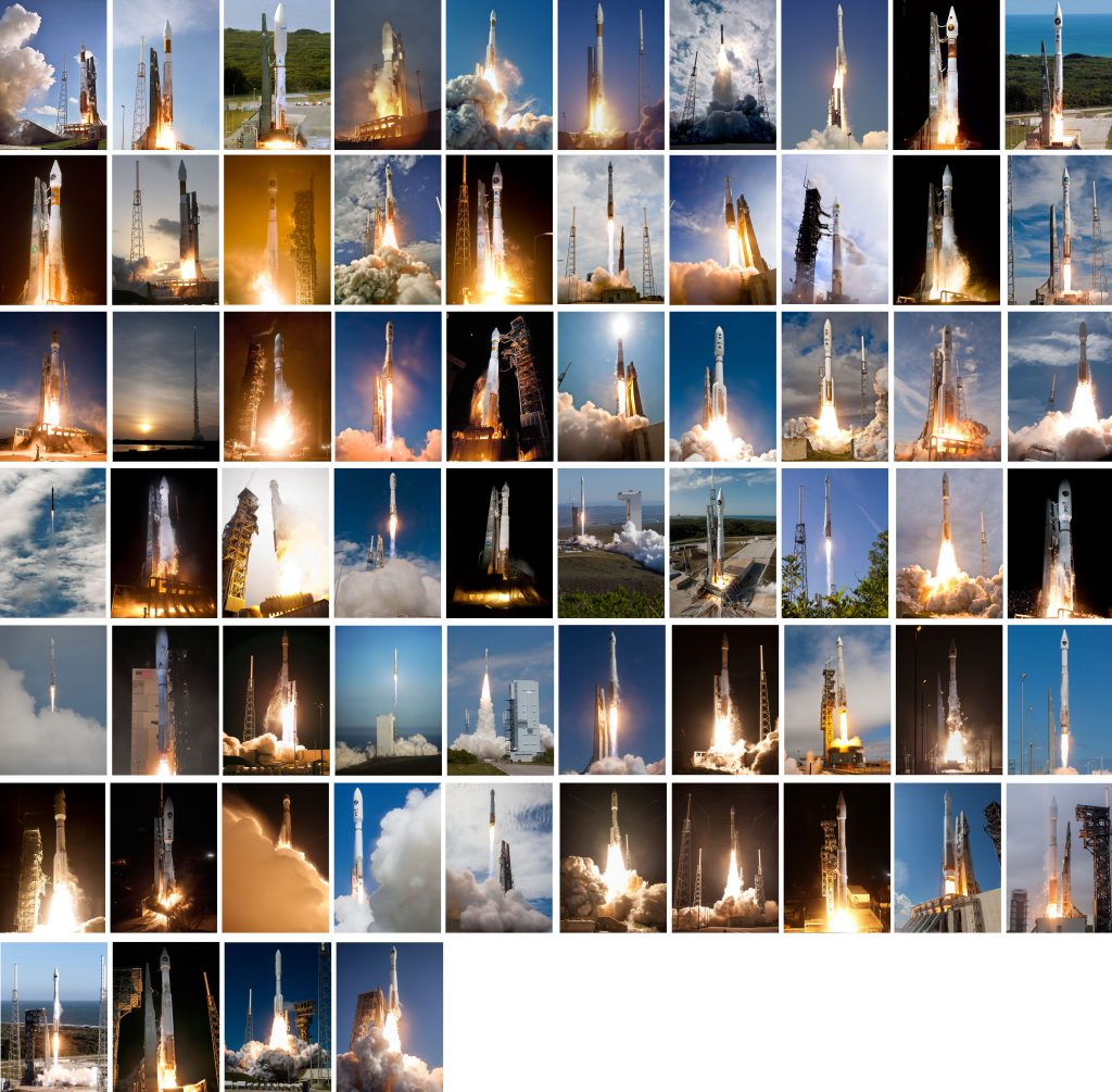 All 64 launches by the workhorse Atlas 5 rocket for the Defense Department, National Reconnaissance Office, NASA and commercial clients. Photos by Pat Corkery, Ben Cooper, Walter Scriptunas II, James Murati, Gene Blevins, Bill Hartenstein, Alex Polimeni and Justin Ray
