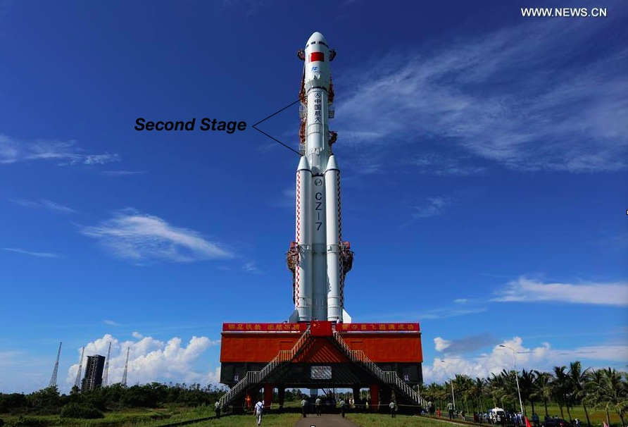 This image of the Long March 7 rocket was taken before launch. Credit: Xinhua