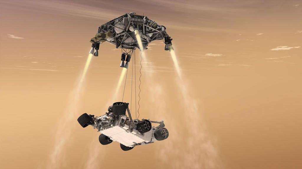 An artist's concept of the Sky Crane lowering Curiosity onto the Martian surface. Credit: NASA