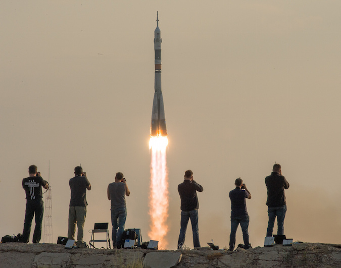 The Soyuz rocket lifted off at 7:36 a.m. local time at the Baikonur Cosmodrome in Kazakhstan. Credit: NASA/Bill Ingalls