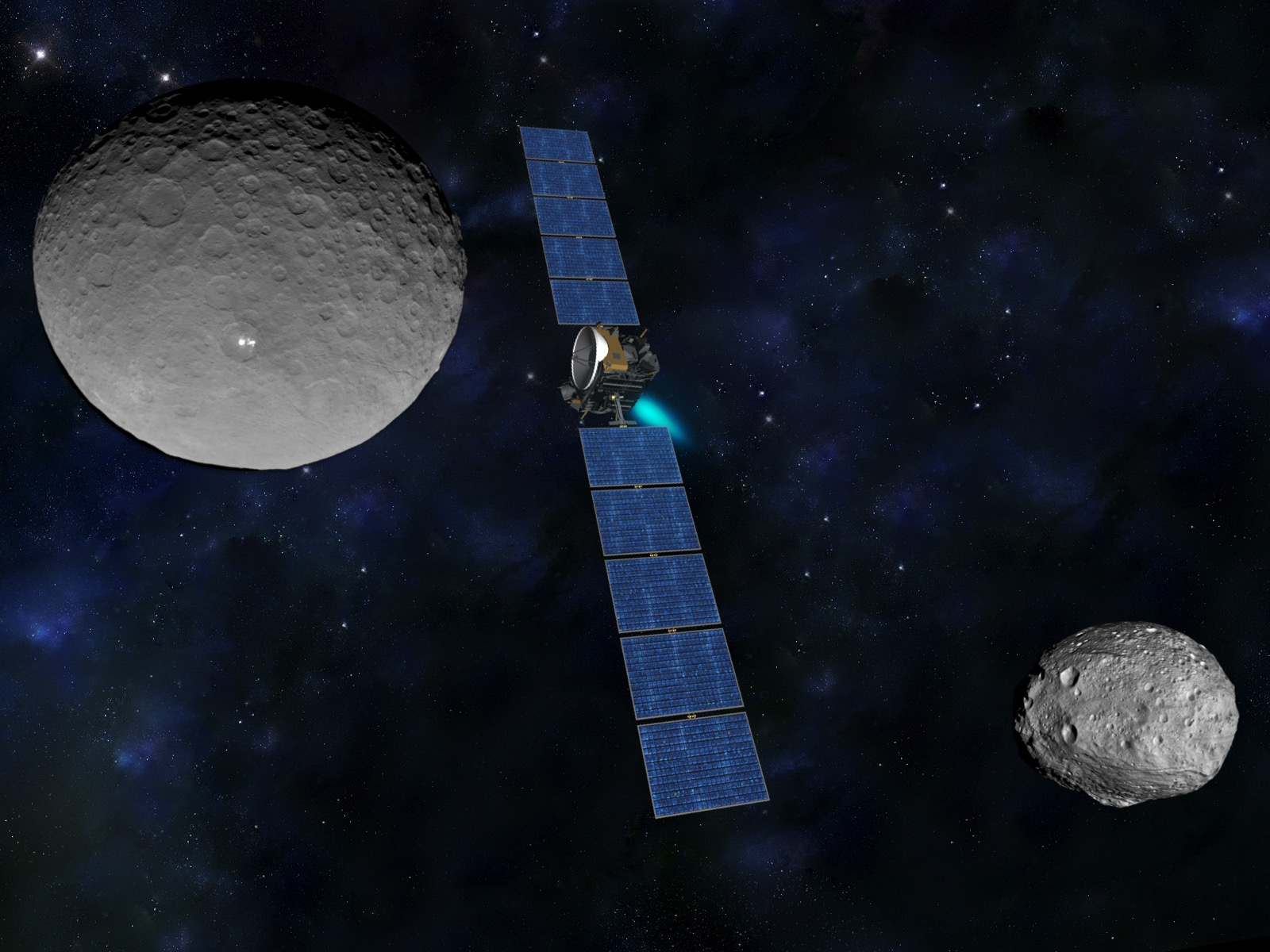Artist's concept of the Dawn spacecraft with imagery of Ceres (left) and Vesta (right) captured during the mission. Credit: NASA/JPL-Caltech