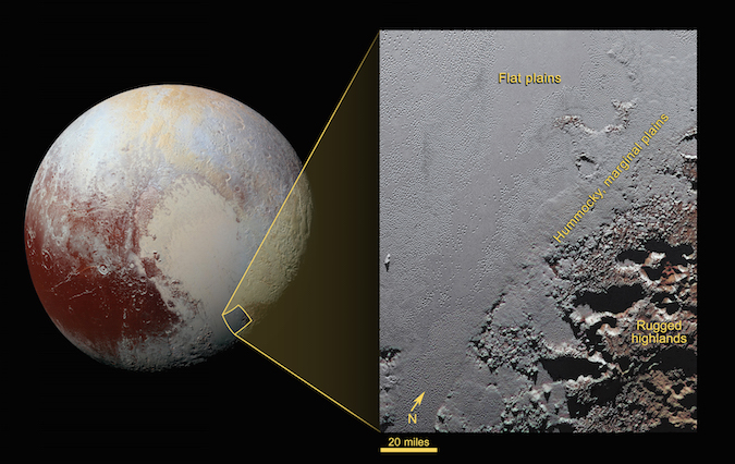 This enhanced color view from NASA's New Horizons spacecraft zooms in on the southeastern portion of Pluto's great ice plains, where at lower right the plains border rugged, dark highlands informally named Krun Macula. Krun Macula – Krun is the lord of the underworld in the Mandaean religion, and a macula is a dark feature on a planetary surface – is believed to get its dark red color from tholins, complex molecules found across Pluto. Krun Macula rises 1.5 miles (2.5 kilometers) above the surrounding plain – informally named Sputnik Planum – and is scarred by clusters of connected, roughly circular pits that typically reach between 5 and 8 miles (8 and 13 kilometers) across, and up to 1.5 miles (2.5 kilometers) deep. Credit: NASA/JHUAPL/SWRI