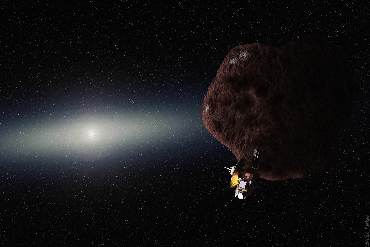 Artist's concept of the New Horizons spacecraft's encounter with a Kuiper Belt object. Credit: NASA/JHUAPL/SWRI/Alex Parker