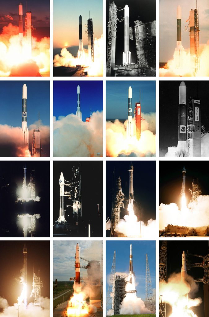 All of the launches in the GOES satellite series are shown here. They were launched aboard Delta and Atlas rockets from Cape Canaveral. Photos by NASA/NOAA/ULA