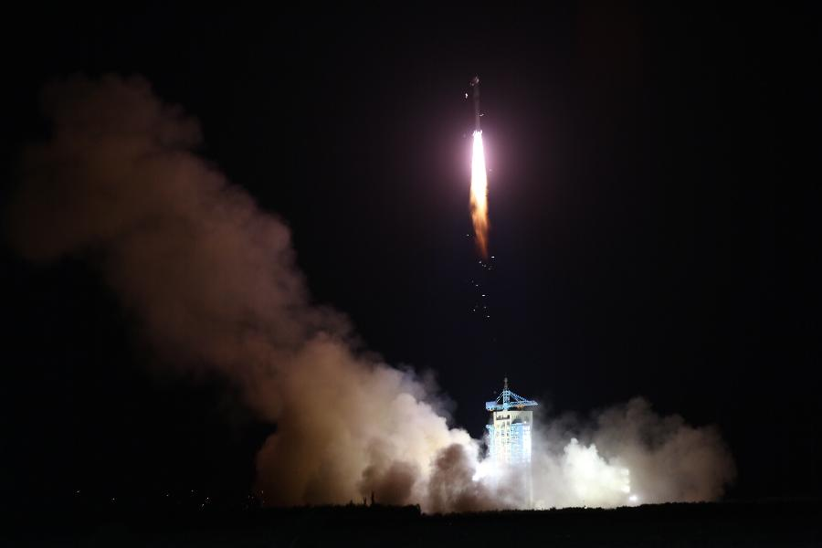 A Long March 2D rocket takes off with the Quantum Science Satellite. Credit: Xinhua