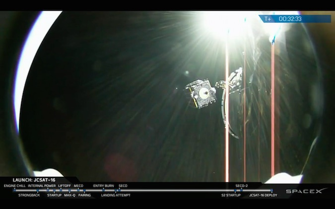 The JCSAT 16 communications satellite separated from the Falcon 9 rocket's upper stage while soaring over Africa about 32 minutes after launching from Florida. Credit: SpaceX