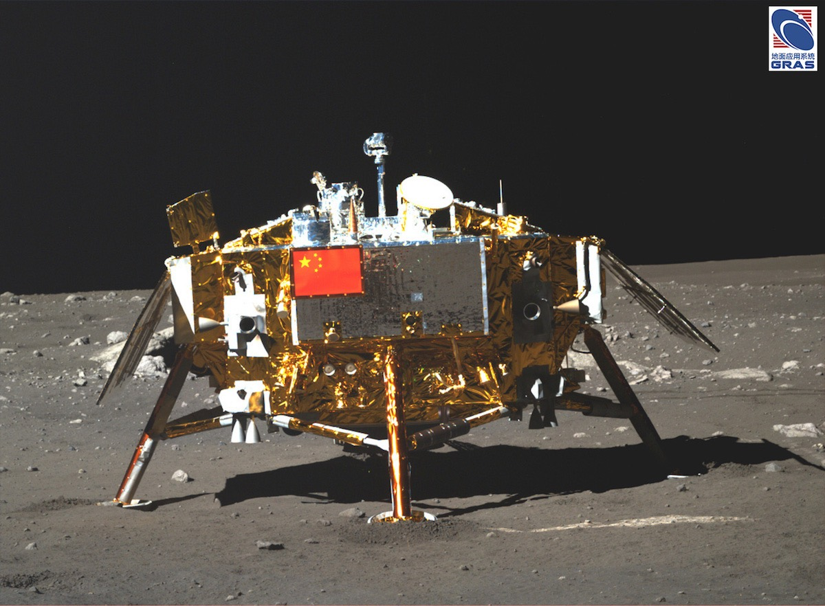 A camera aboard the Yutu rover took this picture of the Chang'e 3 landing platform in December 2013. Credit: Chinese Academy of Sciences/NAOCScience and Application Center for Moon and Deepspace Exploration