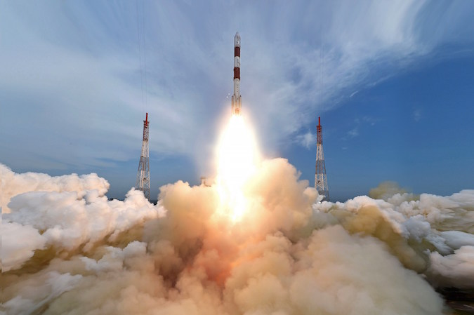 The PSLV lifted off at 0342 GMT Monday (11:42 p.m. EDT Sunday). Credit: ISRO