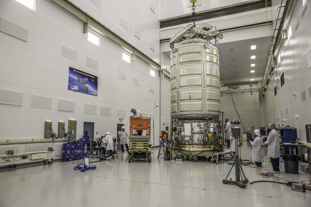 The Italian-built pressurized cargo module and U.S.-built service module of the next Cygnus spacecraft were mated earlier this year at Wallops. Credit: NASA/Patrick Black