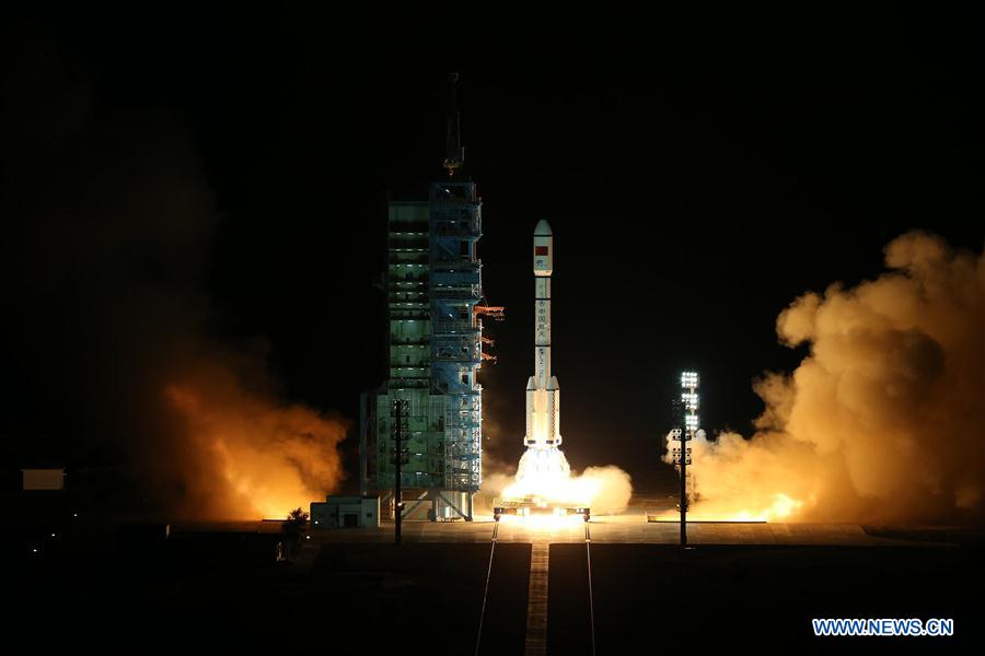 The Tiangong 2 space lab launched at 1404 GMT (10:04 a.m. EDT; 10:04 p.m. Beijing time) Thursday on top of the Long March 2F T2 rocket. Credit: Xinhua